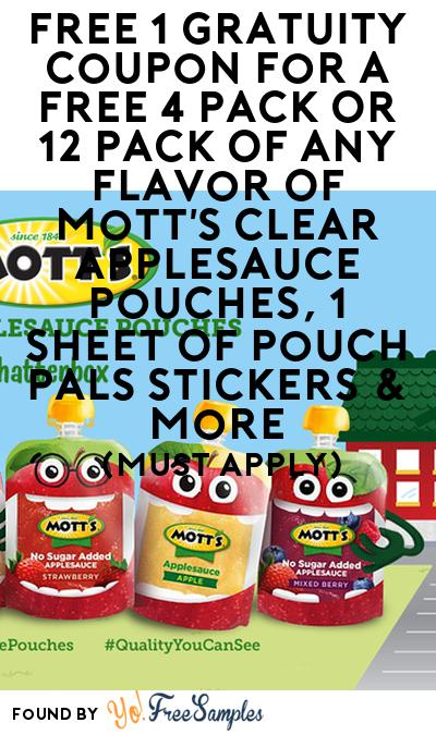 FREE Mott's Clear Applesauce Pouches, Pouch Pals Stickers & More (Must Apply)