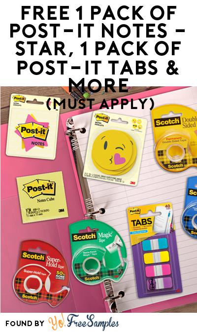 FREE Post-It Notes, Post-It Tabs & More (Select States, Must Apply)
