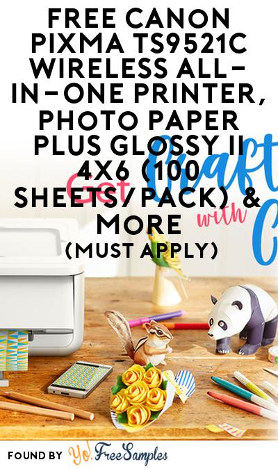 FREE Canon Pixma Ts9521C Wireless All-In-One Printer, Photo Paper Plus Glossy Ii 4X6 (100 Sheets/Pack) & More (Must Apply)