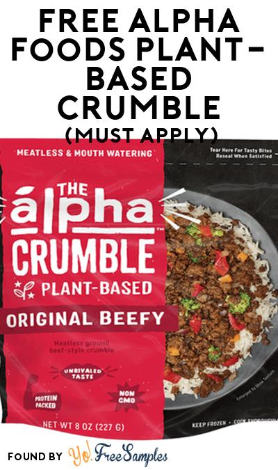 FREE Alpha Foods Plant-Based Crumble At Social Nature (Must Apply)