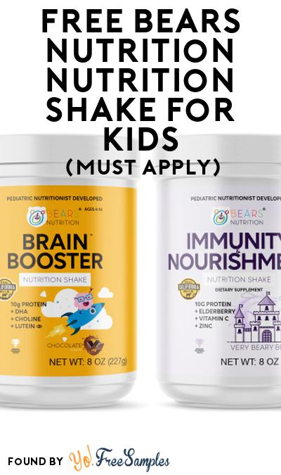 FREE Bears Nutrition Nutrition Shake For Kids At Social Nature (Must Apply)