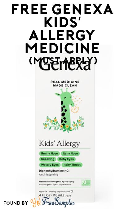 FREE Genexa Kids' Allergy Medicine At Social Nature (Must Apply)
