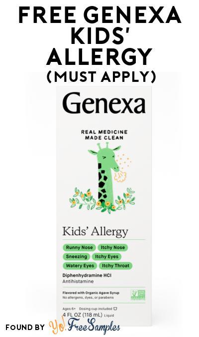 FREE Genexa Kids' Allergy At Social Nature (Must Apply)