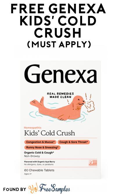 FREE Genexa Kids' Cold Crush At Social Nature (Must Apply)