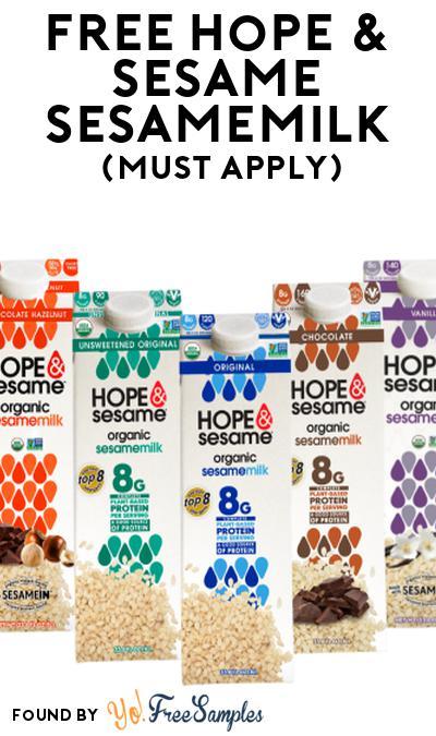 FREE Hope & Sesame Sesamemilk At Social Nature (Must Apply)