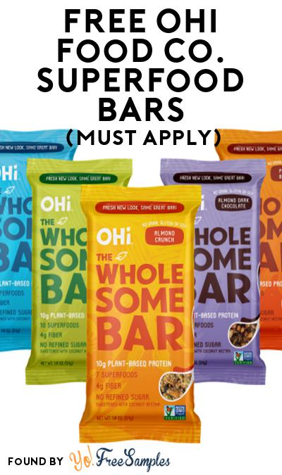 FREE Ohi Food Co. Superfood Bars At Social Nature (Must Apply)