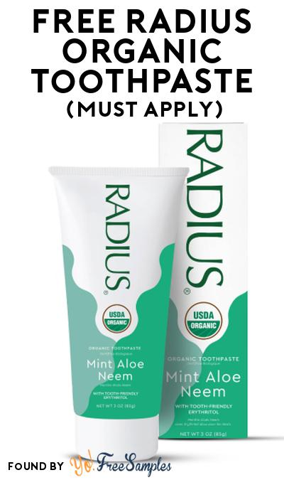 FREE RADIUS Organic Toothpaste At Social Nature (Must Apply)