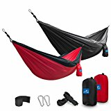 2 Pack Double Camping Hammocks by Ace Teah Parachute Nylon Hammock for Travel, Backpacking, Camping, Hiking, Park,Yard with Max 500 lbs Capacity Carabiners and Ropes Included, 118