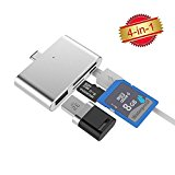 [New Releases] Micro SD Card Reader USB OTG Hub Adapter USB 2.0 Charging Port SDHC TF Card Reader Adapter (Silver)by Okapia