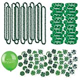 109 Piece Mega St Patrick's Day Toy Novelty Assortment; 12 Shamrock Necklaces, 24 Rubber Shamrock Bracelets, 72 St Patrick's Tattoos + BONUS Gift Boutique Happy St Patrick's Day Balloon!!