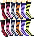 12 Pairs of Mens Dress Socks Colorful Striped Fun Funky Bright Patterned Casual Crew Office (Assorted Striped)