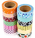 12 Washi Tape Set, Decorative Tape For Scrapbooking Supplies, Removable Tapes Collections For Scrapbook Organizer, Multi-Purpose Masking Tape For Craft, Japanese Paper & Stickers, Teens, Girls & Kids
