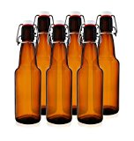 12 oz Swing Top Bottles - Grolsch-Style Flip Top Bottles for Home Brewing Kombucha, Beer and More (Amber, Case of 6)