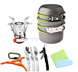 12pcs Camping Cookware Stove Canister Stand Tripod Folding Spork Wine Opener Carabiner Set Bisgear(TM) Outdoor Camping Hiking Backpacking Non-stick Cooking Non-stick Picnic Knife Spoon Dishcloth