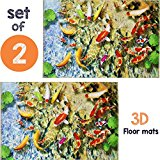 2 Anti Fatigue and Anti Stress Bath Mats - Coral Reef Decorations for Kitchen Comfort - Excellent Cushioned Floor Mat for Cookers - The Ultimate Nature Lover Flooring Decor Gift