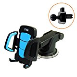 2 in 1 Car Cell Phone Mount, LilBit Universal Air Vent Holder and Long Arm Windshield Mobile Phone Cradle with Suction Cup for 3.5-6.5 inch Iphone Smartphone GPS, Black and Blue