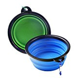 2-pack Travel Dog Bowl include Carabiner Foldable Expandable pet bowls,Dog or Cat Food Feed and Water on Journeys, Hiking, Kennels & Camping