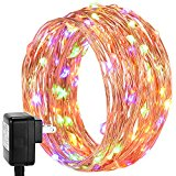 200 LED String Lights, DecorNova Starry Lights with UL Certified 3V Power Adapter and Remote Control for Seasonal Decorative Christmas Holiday Wedding Parties Home Bedroom, 66-feet, 4 Colors