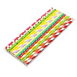 2087 Paper Straws Colorful Juice Straw for Birthday, Wedding, Christmas, Celebration Parties, 100 Pack