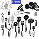 25 Piece Kitchen Utensils Set Stainless Steel and Nylon Tongs, Spatula, Pizza Cutter, Bottle Opener, Brush, Spaghetti server, Soup ladle, Big Whisk,AND MORE buy it and GET Silicon Oven Glove