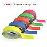 5 Pack Fluorescent Blacklight Tape - The Best Glow in the Dark Party Supplies for UV Reactive Parties, Color Coding in Neon and Hazard Marking for Clubs and Studios [5 Rolls - 1/2