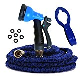 BEST Expandable Garden Hose, 8-Set Spray, Hook, 50 Ft, with Accessories, As seen on TV Free eBooks, 1 Year Warranty by RAAYA