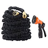 50' Garden Hose Expandable Water Hose with All Brass Connector and Free 8 Pattern Spray Nozzle, Black