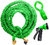 50ft Expandable Garden Water Hose. Double Latex Layers, Flexible, Brass Fittings, Expanding Garden Water Hose, FREE Hanger & Sprayer