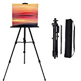 65-Inch Tabletop Aluminium Folding Easels - Lightweight Easel for Artist& Kids Painting,Presentation,Display,Black,Portable