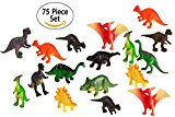 75 Piece Party Pack Mini Dinosaurs - Plastic Mini Educational Dinosaur Animal Toys - Fun Gift Party Giveaway