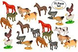 75 Piece Party Pack Mini Farm Animals - Plastic Mini Animal Toys - Fun Gift Party Giveaway