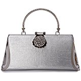 8.5'' Women's Luxury Shoulder Wristlet Dinner Bag - ULG Bling Rhinestone Crossbody Handbag Chain Clutch Purse for Wedding Evening Party,412#Sliver