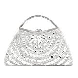 9.25'' Evening Bag,ULG Women's Handbag Purse Frame Rhinestone Wallet,81013-1-White