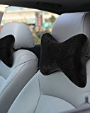 AERIS Memory Foam Plush Velour Neck Pillow with Adjustable Strap and Portable Bag, Black