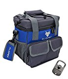 ALOPEX Outdoor Cooler with Detachable and Adjustable Shoulder Strap, Black and Grey,Free Bottle Opener As Extra Gift (12-CAN, NAVYBLUE)