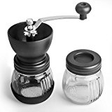 AMFOCUS Ceramic Manual Coffee Mill Grinder for Precision Grinding with Glass Jar