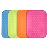 AMFOCUS Silicone Dish-Drying Mat, Multipurpose Oven Trivet Placemat, Pot Holders, Set of 4