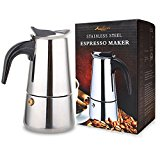 AMFOCUS Stainless Steel Espresso Coffee Maker Moka Pot Latte Percolator, 2 Expresso Shots