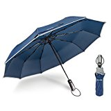 Ace Teah Folding Umbrella Compact Travel Umbrella Windproof to 60MPH with Comfortable Ergonomic Handle and Auto Open / Close Function - Blue