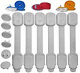 Adjustable Child Safety Locks by KIDIGUARD Set of 6 Locks + Bonus kit 3 Safety Door Stopper + 6 Electric Outlet Covers + 2 Extra 3M Pads, Premium Quality Child proof Protection kit
