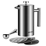 Aicok French Press Coffee Maker Stainless Steel Coffee Press Pot And Tea Maker, 34 oz / 1L