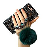Aikeduo For Iphone 7plus caseChain Luxury Bling Diamond Rhinestone Rabbut Fur Plush Strap Chain Case For iPhone 7plus case Covers (Dark green)