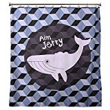 Aimjerry Child Polyester Shower Curtain with 12 Hooks (72Wx72L,Blue Fish)