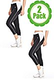 American Causal 2 Pack Womens Workout Capri Pants-Leggings for Yoga and Running,2 Pack White,Medium