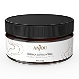 Anjou Arabica Coffee Scrub with Honey, Sea Salt, Jojoba Oil (For Face and Body, 8 oz, Natural Exfoliate and Cellulite Treatment, Skin Moisturizer and Purifier)