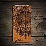 Anlye Lion iPhone 7 Wooden Case,Personalized Iphone 7 Case Unique Real Handmade Iphone 7 Case Ultra Slim Iphone 7 Case Lightweight IPhone 7 Wood Cover(YK016F)