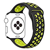 Aokon Apple Watch Band 38mm, Soft Silicone Replacement Wrist Strap for Apple Watch Series 2, Series 1, Nike+, S/M Size (38MM, Black / Volt Yellow)