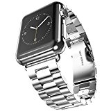 Apple Watch Band, Evershopiwatch band 42mm Silver Stainless Steel Replacement watch band with Durable Metal Clasp for Apple Watch Series 1 Series 2(Stainless Steel Strap-42mm Silver)