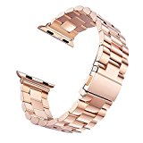 Apple Watch Band,Evershop iwatch Band 38MM Rose Gold Stainless Steel Replacement Watch Strap Wrist Band with Metal Clasp for Apple Watch Series 1 Series 2(38mm Rose Gold)