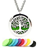 Aromatherapy Essential Oil Diffuser Necklace Tree of Life Pattern Stainless Steel Locket Pendant